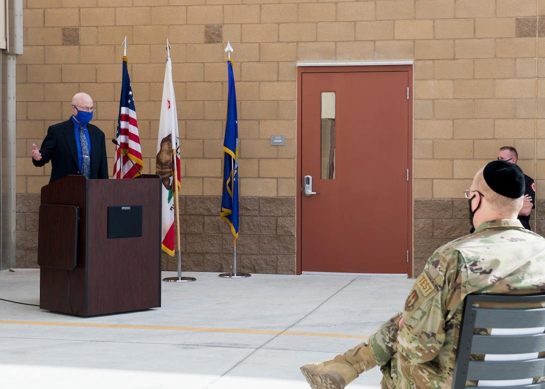 James Judkins, 412th Civil Engineer Group director, provides his remarks during the ribbon-cutting ceremony for the new Airfield Fire Station at Edwards Air Force Base, California, Dec. 8. (Air Force photo by Giancarlo Casem)