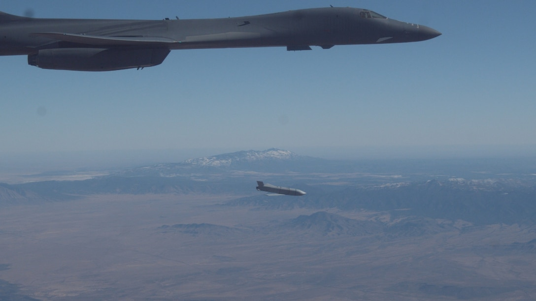 A B-1B Lancer assigned to the 419th Flight Test Squadron, 412th Test Wing, releases a Joint Air-to-Surface Standoff Missile during an external release demonstration in the skies over Holloman Air Force Base, New Mexico, Dec. 4. (Air Force photo by Ethan Wagner)