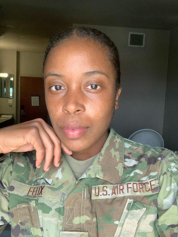 Airman First Class Taquara Felix poses for a photo at technical school. After winning Miss U.S Virgin Islands, Felix decided to leave the pageant stage and join the Air Force Reserve as a medical technician with the 459th Aeromedical Evacuation Squadron. (Courtesy Photo)