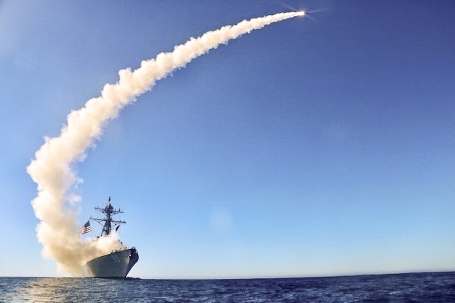 The guided missile destroyer USS Chafee launches a Block V Tomahawk missile during an exercise in the Pacific Ocean, Dec. 1, 2020.
