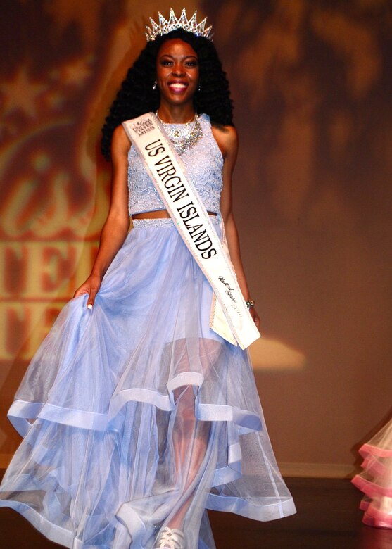 Airman First Class Taquara Felix takes the runway after being crowned Miss U.S. Virgin Islands in 2016. Felix transitioned from pageant life to the Air Force Reserve to fulfill her dream of working in the medical field. (Courtesy Photo)