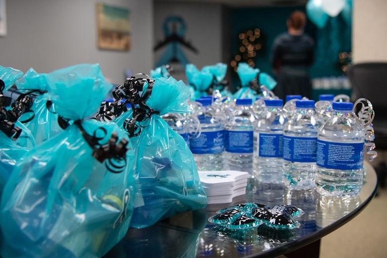 Sexual Assault Prevention and Response (SAPR) team gift bags sit on a table at Barksdale Air Force Base, La., Dec. 4, 2020.