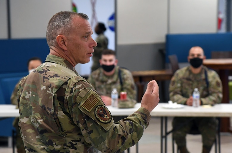 U.S. Air Force Chief Master Sgt. Erik Thompson, command chief of Air Education and Training Command, speaks to military training leaders at the Levitow Training Support Facility at Keesler Air Force Base, Mississippi, Dec. 8, 2020. MTLs are force generators and the first link in the chain of command for Airmen in technical training.  (U.S. Air Force photo by Kemberly Groue)