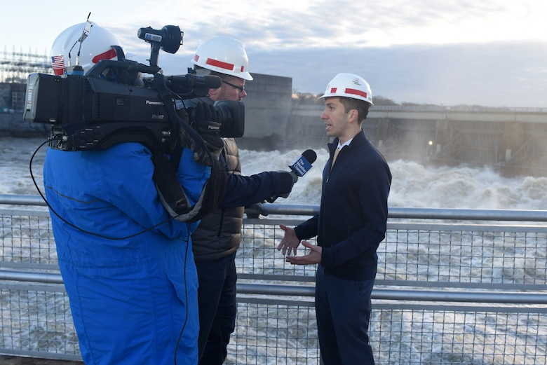 The Weather Channel National News Correspondent Justin Michaels interviews Anthony Rodino, U.S. Army Corps of Engineers Nashville District Water Management Section chief, from Old Hickory Dam at Cumberland River mile 216.2 as the dam discharges water at a rate of 102,000 cubic feet per second Feb. 27, 2019 in Old Hickory, Tennessee. Rodino is featured in a new educational video that highlights how the Nashville District manages water in the Cumberland River Basin. (USACE photo by Lee Roberts)