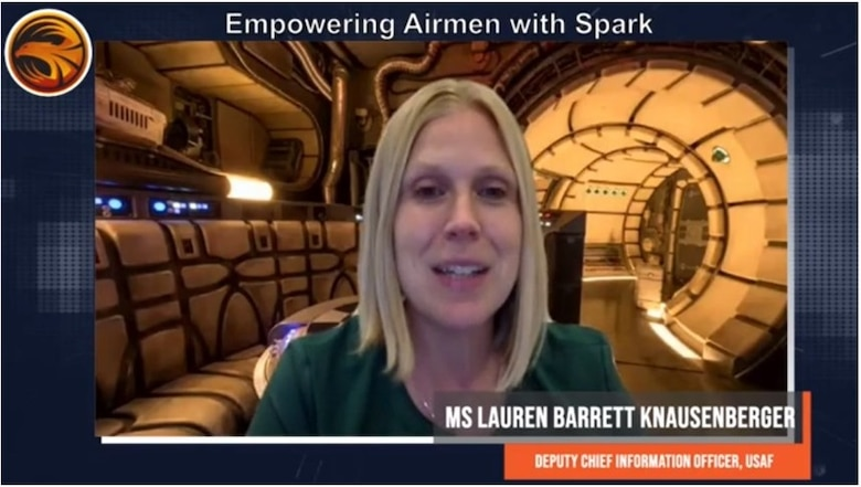 """""""Our Airmen are just really crazy-smart and are solving problems every day,"""" said Lauren Barrett Knausenberger, Deputy Chief Information Officer for the Department of the Air Force, during day three of Accelerate. (Courtesy photo)"""