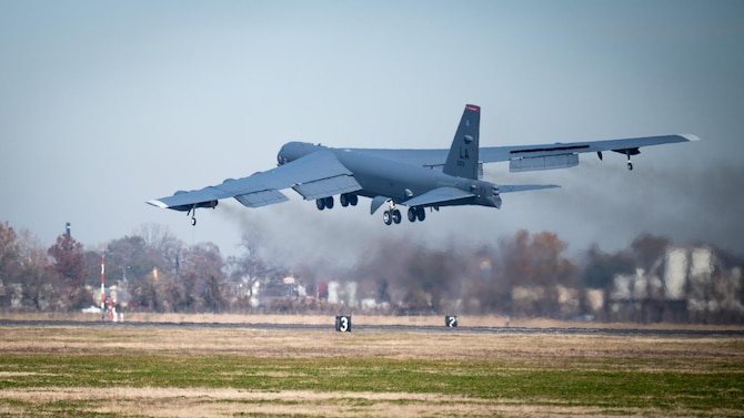 A B-52H Stratofortress departs for a long-range training mission at Barksdale Air Force Base, La., Dec. 9, 2020. (U.S. Air Force photo by Senior Airman Lillian Miller)
