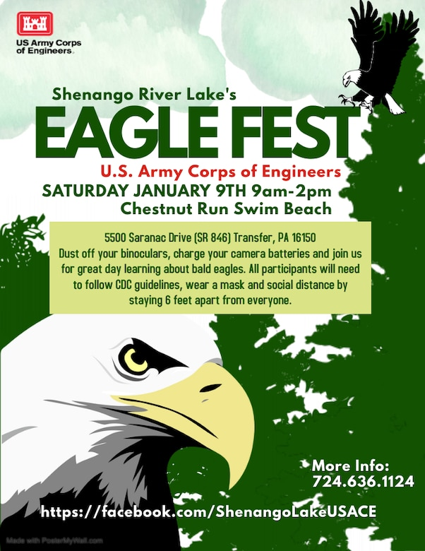 The U.S. Army Corps of Engineers Pittsburgh District will host its first annual Eagle Fest at Shenango River Lake.