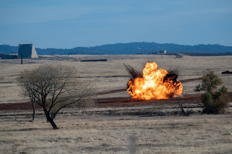 Explosives, equivalent to 100 pounds of TNT, are set off during military working dog (MWD) and explosive ordnance detection collaborated training on Beale Air Force Base.