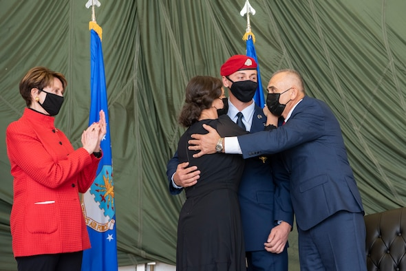 Barbara Barrett, Secretary of the Air Force, presented the medal to Staff Sgt. Alaxey Germanovich, 26th Special Tactics Squadron combat controller, for his actions during a fierce firefight in Nangarhar Province, Afghanistan, April 8, 2017. Germanovich's efforts were credited with saving over 150 friendly forces and destroying 11 separate fighting positions.