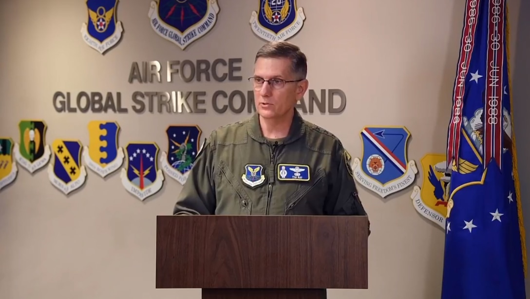 Gen. Tim Ray, Air Force Global Strike Command commander, spoke virtually at the 20th Annual Nuclear Triad and Deterrence Symposium, Dec. 10.