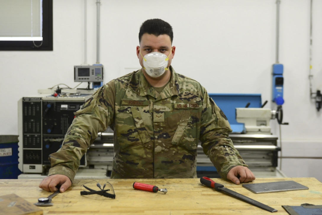 Airman 1st Class Joshuah Fonteno, 31st Maintenance Squadron Aircraft Metals Technology Journeyman, poses for a photo at Aviano Air Base, Italy, Dec. 3, 2020.