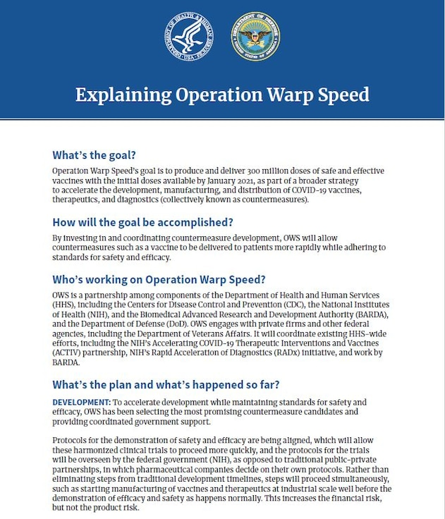Fact Sheet: Operation Warp Speed