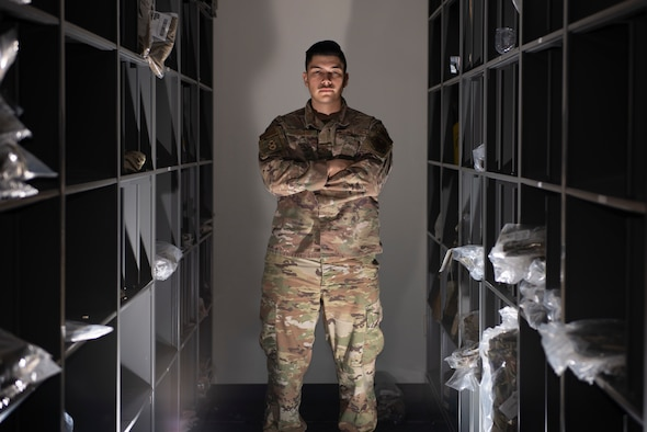U.S. Air Force Staff Sgt. Zachary LeBlanc, 81st Security Forces Squadron supply NCO in charge, poses for a photo inside the security forces building at Keesler Air Force Base, Mississippi, Nov. 19, 2020. LeBlanc joined the military to adventure and grow as a person so he can bring improvements to his home upon return. (U.S. Air Force photo by Airman 1st Class Kimberly L. Mueller)