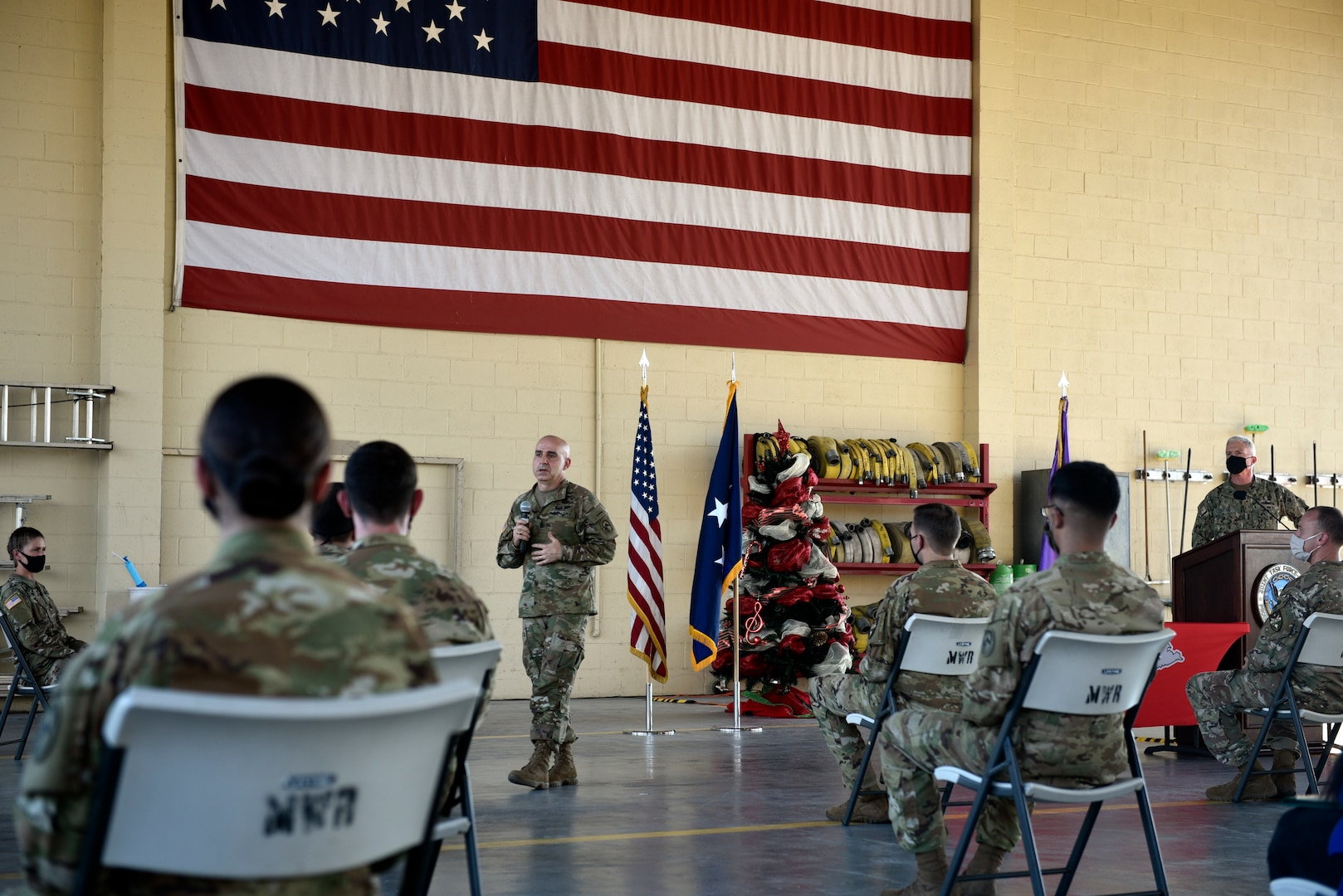 U.S. Army Command Sergeant Major Benjamin Jones, U.S. Southern Command senior enlisted leader, thanks members of Joint Task Force-Bravo for their support in the hurricane rescue and relief operations.