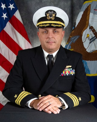 181129-N-N0443-1001 GREAT LAKES, Ill. (Nov. 29, 2018) Official portrait of Cmdr. Anthony Beaster. (U.S. Navy photo)