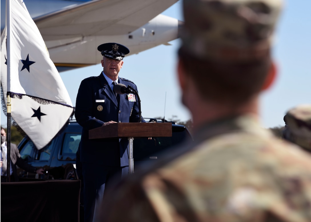 Gen. John 'Jay' Raymond, Chief of Space Operations for the U.S. Space Force, addresses Airmen at a renaming ceremony for two Department of the Air Force installations on Dec. 9, 2020, at Cape Canaveral Space Force Station, Fla. Patrick Space Force Base and Cape Canaveral Space Force Station, formerly U.S. Air Force installations, were unveiled as the first Space Force bases. (U.S. Space Force photo by Senior Airman Zoe Thacker)
