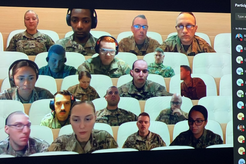 A screenshot showing deployed National Guard Soldiers taking part in the new Army National Guard-Forward Virtual Basic Leadership Course.