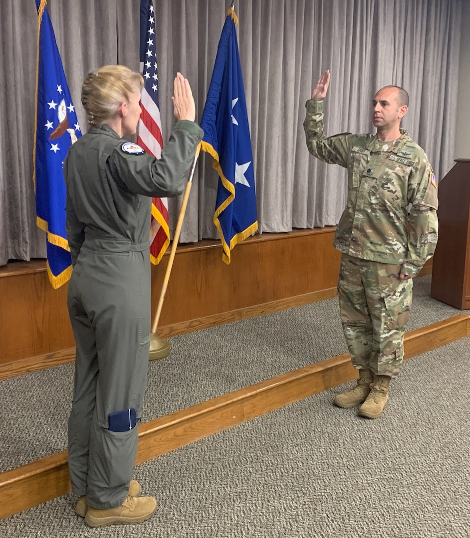 Maj. Gen. Jeannie Leavitt, former Air Force Recruiting Service commander, swears Lt. Col. Michael Graff into the U.S. Space Force Oct. 8, 2020.