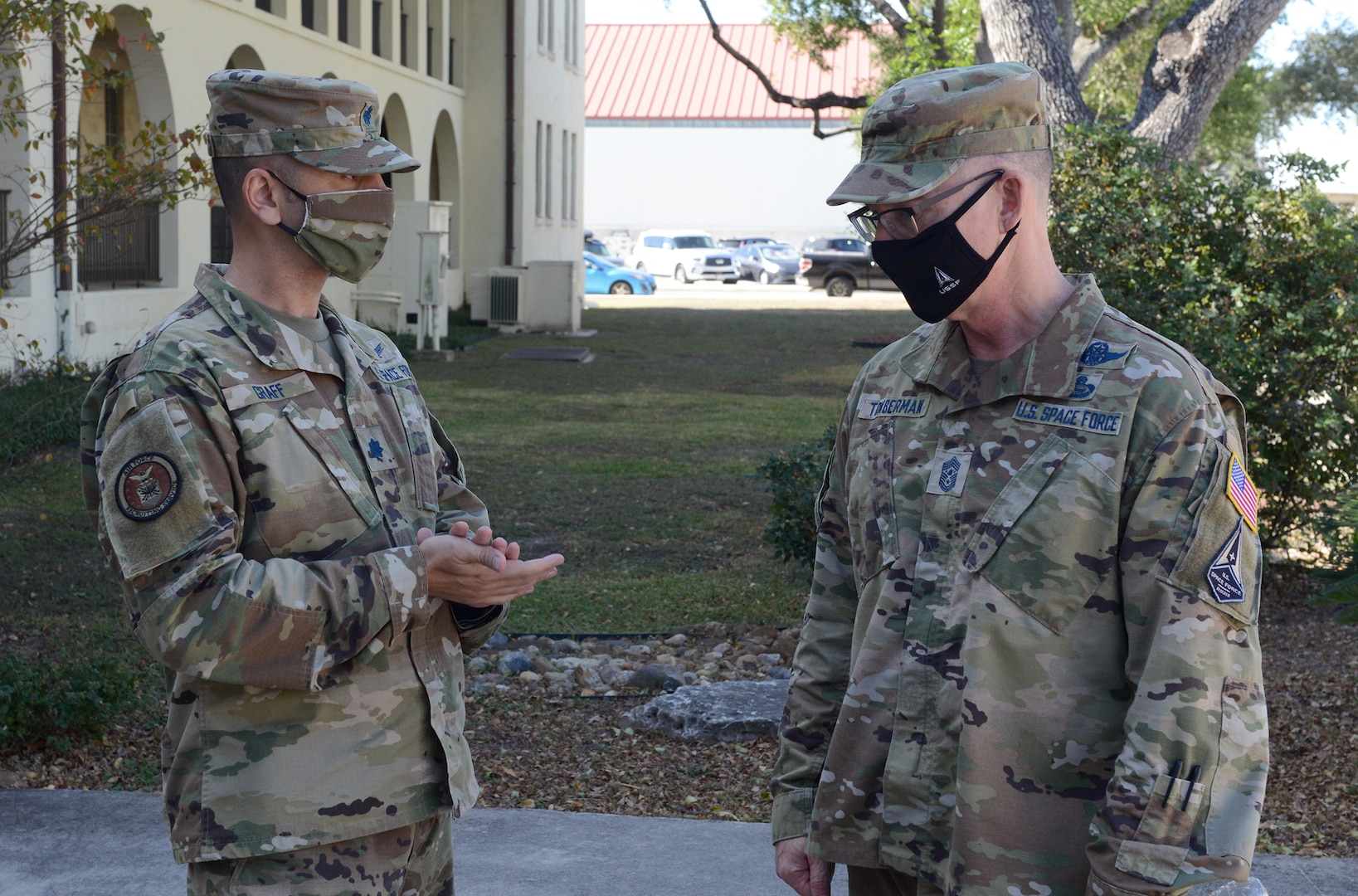Chief Master Sergeant Roger A. Towberman (right), the senior enlisted advisor of the United States Space Force, is greeted by Lt. Col. Michael Graff, Air Force Recruiting Service, Space Force Recruiting branch chief, during a visit to AFRS in October 2020.