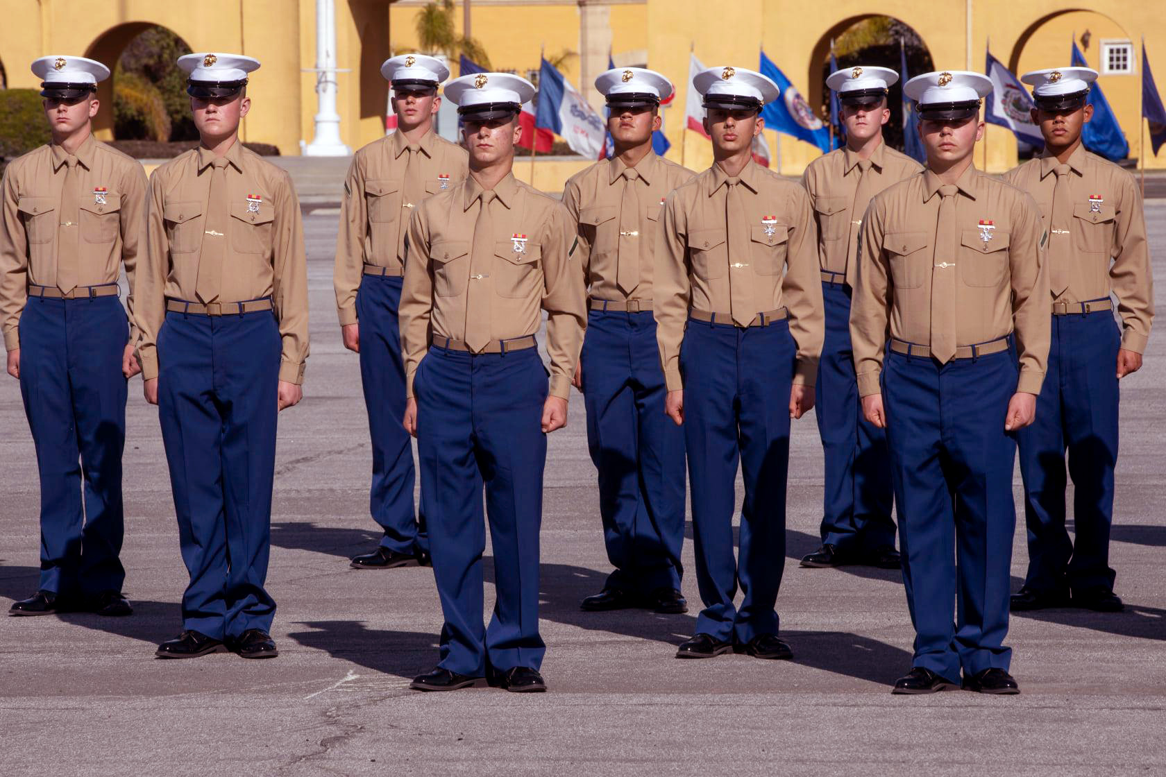 New Marines of Alpha Company, 1st Recruit Training Battalion, stand in formation during a graduation ceremony at Marine Corps Recruit Depot, San Diego, Dec. 11, 2020.