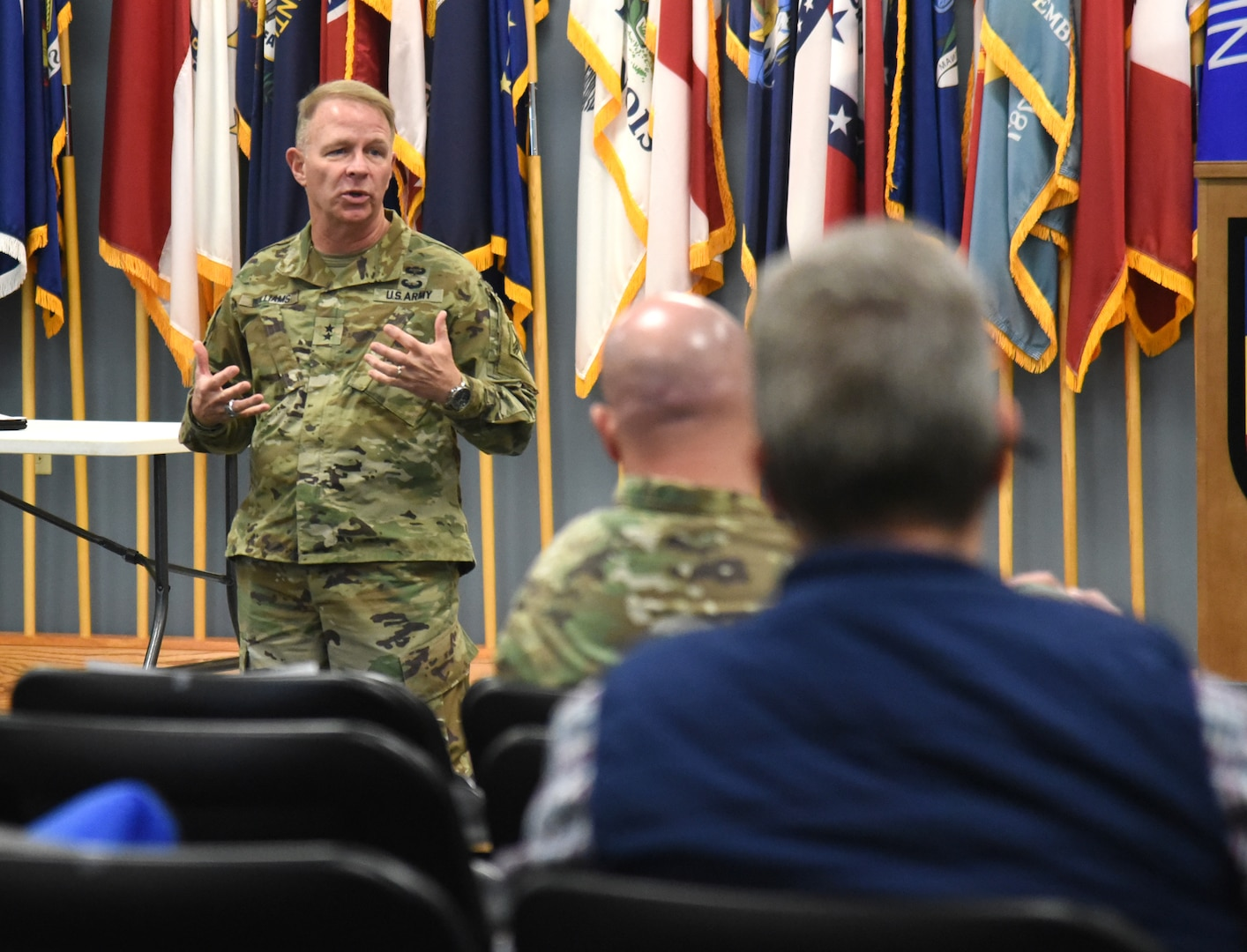 Maj. Gen. Timothy P. Williams, the Adjutant General of Virginia, speaks to Virginia Department of Military Affairs managers during the DMA Supervisors Course Dec. 4, 2020, at Fort Pickett, Virginia.