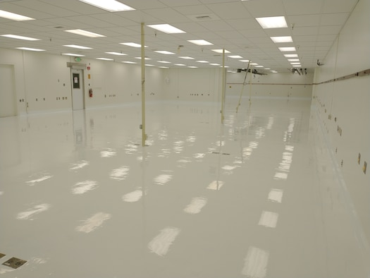 "A floor repair project recently wrapped up at the Precision Measurement Equipment Laboratory on Edwards Air Force Base, California. The repair project was identified as mission need and was funded by the Air Force Materiel Command's ""AFMC We Need"" initiative. (Air Force photo by Arcardio Garcia, 412th CES)"