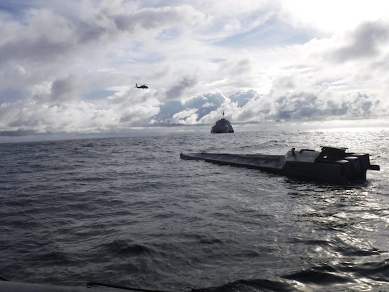 USS Gabrielle Giffords (LCS 10) with embarked U.S. Coast Guard Law Enforcement Detachment (LEDET) 407 conducts enhanced counter-narcotics operations, Dec. 5, 2020.