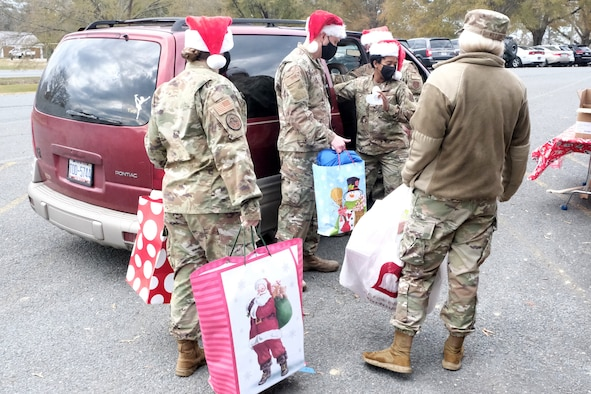 Remaining presents await their dissemination during Operation Santa Claus held at Oakboro Elementary School in Oakboro, N.C. Dec. 13, 2020. The Chapter 7 organization within the North Carolina Air National Guard hosts the Annual Operation Santa Claus event as a way to reach out to the community and spread holiday cheer and spirit. Chapter 7 and volunteers passed out nearly 100 boxes of food donated by the local Food Lion as well as 50 presents designated to students within the school.
