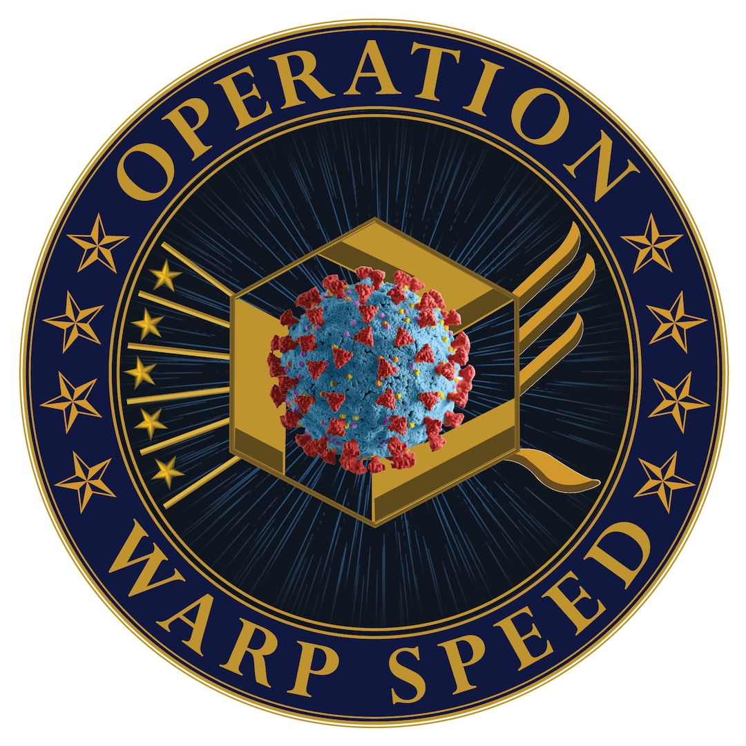 Blue, yellow and red logo with a virus symbol and stars with the words Operation Warp Speed