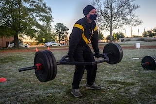 Lt. Gen. Jody Daniels conducting physical fitness