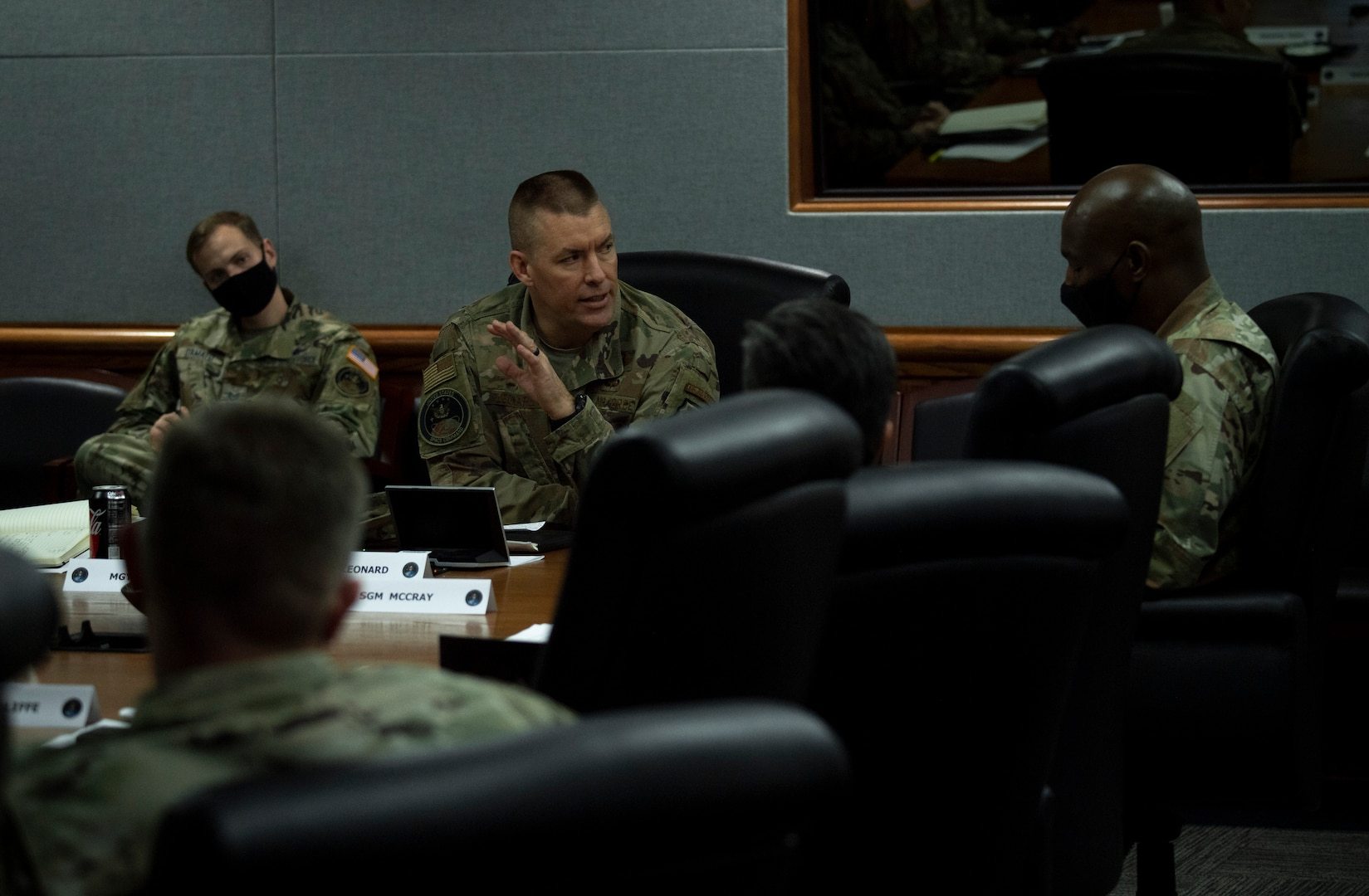 U.S. Air Force Brig. Gen. Brook Leonard, U.S. Space Command chief of staff, gives his thoughts on leadership Dec. 9 at Peterson Air Force Base, Colorado, during an enlisted professionalization day for NCOs from units across USSPACECOM and its subordinate units.
