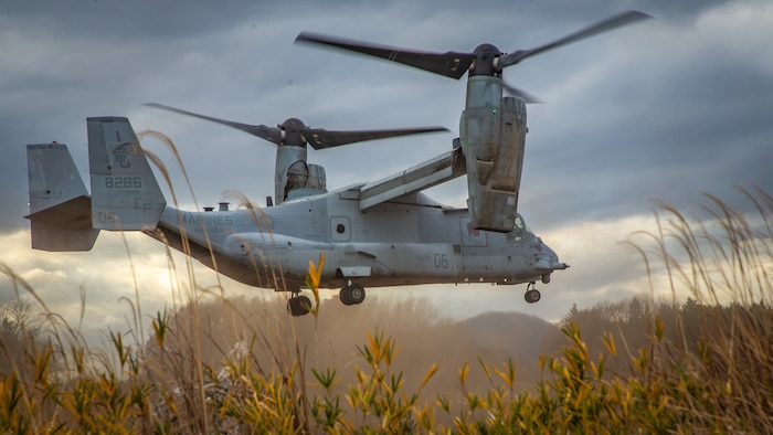 A U.S. Marine Corps MV-22B Osprey with Marine Medium Tiltrotor Squadron (VMM) 265, 1st Marine Aircraft Wing takes off during a casualty evacuation drill during exercise Forest Light Western Army at Camp Soumagahara, Gunma Prefecture, Japan, Dec. 12, 2020. Forest Light is an annual bilateral training exercise that strengthens the interoperability and readiness of the U.S. Marine Corps and Japan Ground Self-Defense Force to deter aggression and defeat any threat. This iteration is focused on seizing and defending key maritime terrain as an integrated force in support of naval operations in the defense of Japan. (U.S. Marine Corps photo by Sgt. Branden J. Bourque)
