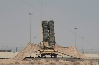 A Patriot missile launcher stands ready to destroy any incoming threats at Ali Al Salem Air Base, Kuwait, Nov. 20, 2020. The Patriot missile system is an integral component to the safety of the base, and is used to seek and destroy aerial threats. (U.S. Air Force photo by Staff Sgt. Kenneth Boyton)