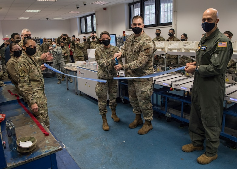 The 786th Force Support Squadron unveiled its new automatic mail sorter at the Northside Post Office at Ramstein Air Base, Germany, Dec. 16. Leadership from the 786th FSS and 86th Airlift Wing took part in a ribbon cutting ceremony introducing the new equipment.