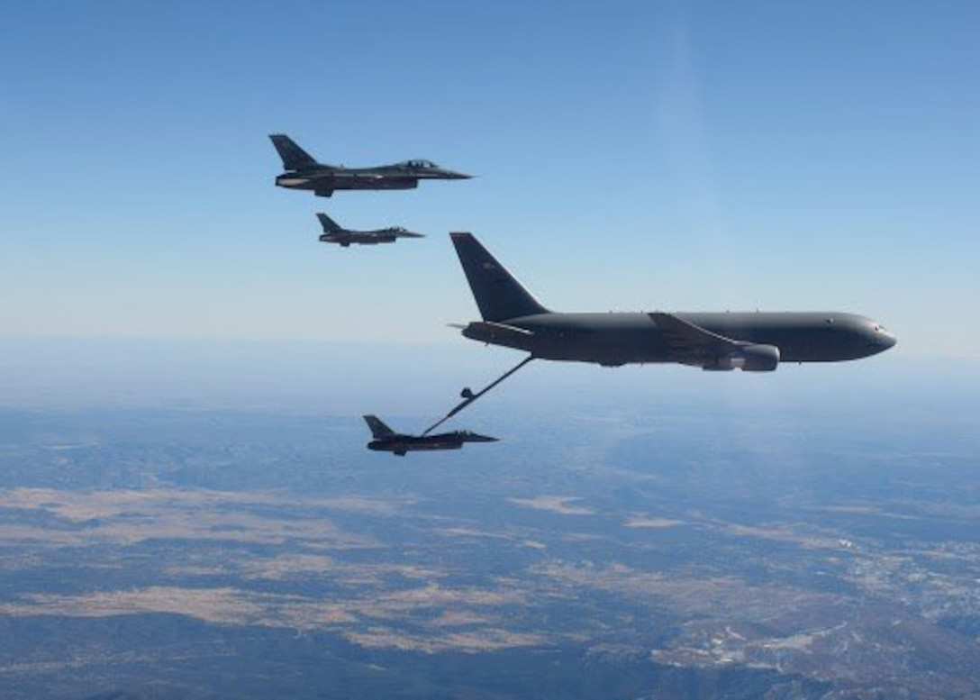 KC-46s refuel F-16 Fighters