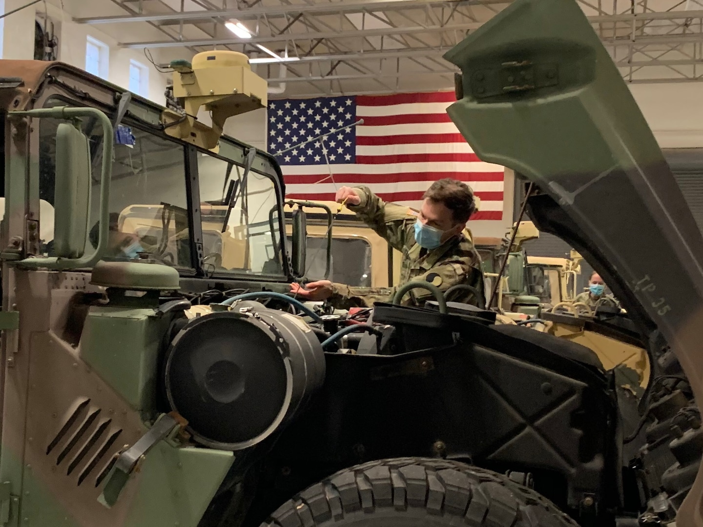 A Virginia National Guard Soldier assigned to the Staunton-based 116th Infantry Brigade Combat Team conducts pre-mission maintenance checks Dec. 16, 2020, in Staunton, Virginia.