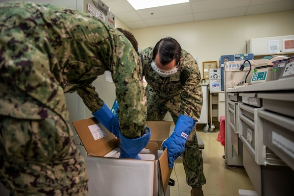 Sailors receive the first doses of the COVID-19 vaccine Naval Hospital Camp Pendleton.