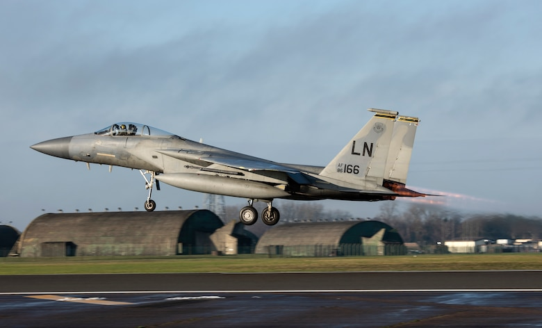 An F-15C Eagle assigned to the 493rd Fighter Squadron takes off at Royal Air Force Lakenheath, England, Dec. 8, 2020. 48th Fighter Wing pilots participated in a live missile fire exercise, gaining combat representative training that can't be fully imitated in a simulation during day-to-day training. (U.S. Air Force photo by Airman 1st Class Jessi Monte)
