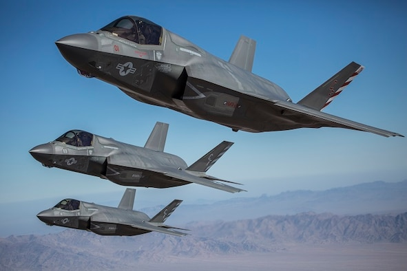 F-35B Lightning II aircraft, assigned to Marine Corps Air Station Miramar, Calif., conduct flight operations above Marine Corps Air Ground Combat Center Twentynine Palms, Calif., Oct. 4. The Kill Chain Integration Branch of the Special Programs Division of the Command, Control, Communications, Intelligence and Networks Directorate, headquartered at Hanscom Air Force Base, Mass., has helped to field Interim Full Motion Video, a combination of a video stream and associated location metadata in one video file, that will assist ground units in coordinating air action against hostile targets. (U.S. Marine Corps photo by Lance Cpl. Becky Calhoun/Released)