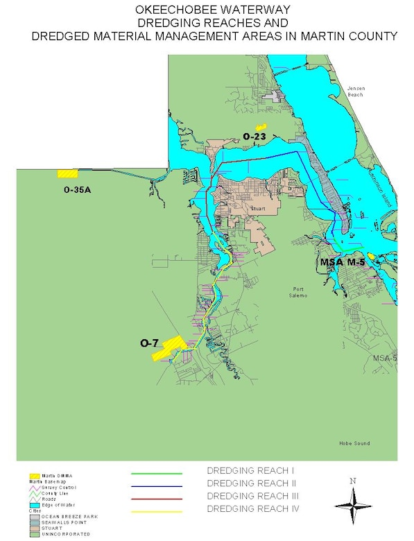 Maintenance dredging of the Okeechobee Waterway in Dredging Reach 3 indicated in red and Reach 4 indicated in yellow, in parts of the St. Lucie River in Martin County.