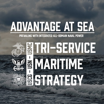 A graphic depicting the Tri-Service Maritime Strategy.