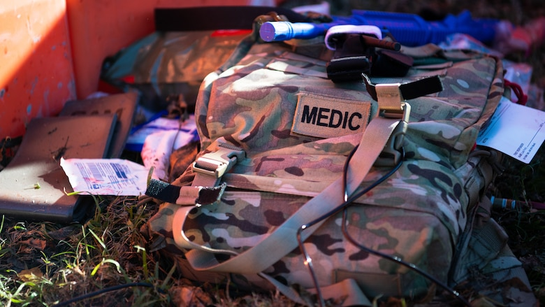 A 2nd Medical Group Tactical Combat Casualty Care (TCCC) bag sits on the ground during a TCCC field training exercise at Barksdale Air Force Base, La., Dec. 9 2020.