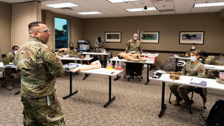 Lt. Col. John A. Camacho-Ayala, 2nd Medical Group health care integrator and director of medical management, teaches a class on Tactical Combat Casualty Care (TCCC) at Barksdale Air Force Base, La., Dec. 7, 2020.
