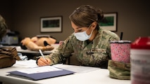 Staff Sgt. Johanna Esquivel, 2nd Operational Medical Readiness Squadron medical technician, takes a test during a Tactical Combat Casualty Care (TCCC) class at Barksdale Air Force Base, La., Dec. 7, 2020.