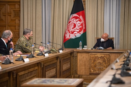 Gen. Mark A. Milley, chairman of the Joint Chiefs of Staff, meets with Ashraf Ghani, President of the Islamic Republic of Afghanistan in Kabul, Dec. 17, 2020.  The senior leaders discussed the current security environment in Afghanistan.