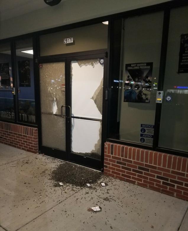 Glass doors damaged