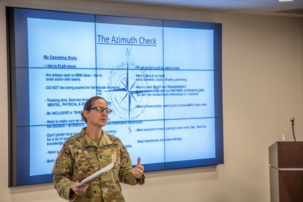 U.S. Army Brig. Gen. Kimberly M. Colloton, U.S. Army Corps of Engineers Transatlantic Division commander, shares her leadership philosophy during the Transatlantic Division's Leadership Development Program Level III course in Winchester, Virginia, Oct. 28, 2020. (U.S. Army photo by Sherman Hogue)