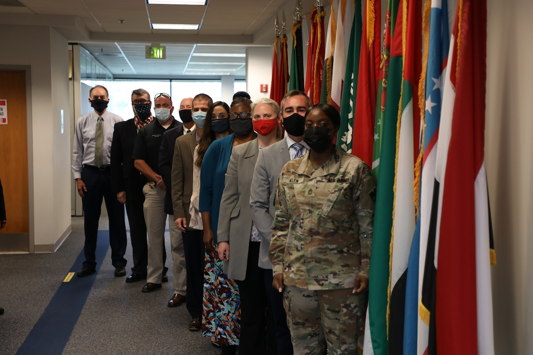 Participants stand for a group photo during the U.S. Army Corps of Engineers Transatlantic Division's Leadership Development Program Level III course in Winchester, Virginia, Oct. 28, 2020. (U.S. Army photo by Sherman Hogue)