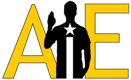 Letter A I E with person holding up hand