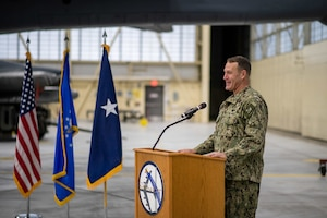 Rear Adm. William W. Wheeler III, U.S. Strategic Command Chief of Staff,_ Dec. 15, 2020, at Minot Air Force Base, North Dakota. Wheeler visited Team Minot to present the Omaha Trophy to both the 91st Missile Wing and the 5th Bomb Wing. (U.S. Air Force photo by Airman 1st Class Jesse Jenny)